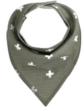 Bandana Bib - White Crosses - Three Bears Kids
