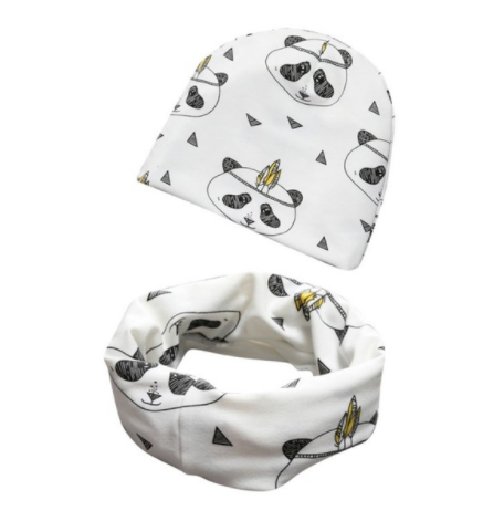 Beanie And Scarf - White Panda - Three Bears Kids