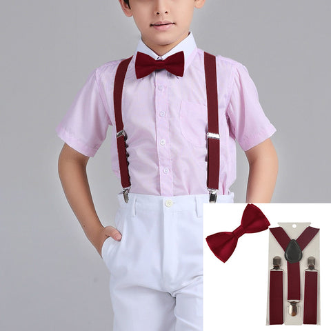 Suspenders And Satin Bow Tie - Wine Red - Three Bears Kids