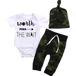 Worth The Wait Romper 3 Piece Set - With Beanie - Three Bears Kids