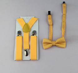 Suspenders And Spotted Bow Tie - Yellow - Three Bears Kids