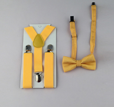 Suspenders And Spotted Bow Tie - Yellow