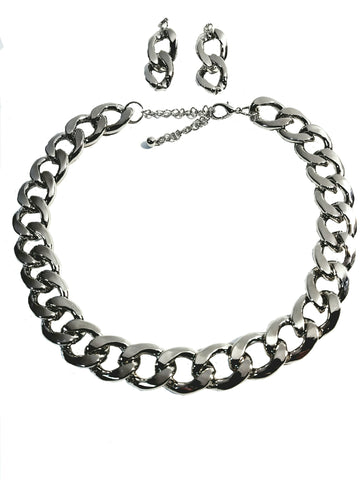 "Silver Plated Chunky Solid Twist Style Fashion Chain Chunky Thick Link 20"" Necklace 4mm Chain Earring Set"