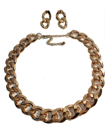 "Gold Plated Chunky Solid Twist Style Fashion Chain Chunky Thick Link 20"" Necklace 4mm Chain Earring Set"