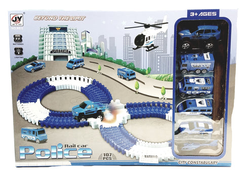 JY Toys City Police Flexible,Bendable Railway Tracks & 6 Vehicle 107 Piece Magic Racetrack