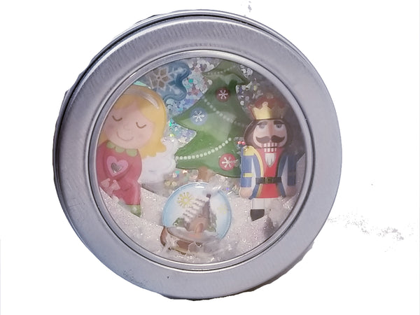 Christmas 3D Diorama Shadow Tin Magnet Girl With Nutcracker Holiday Scene