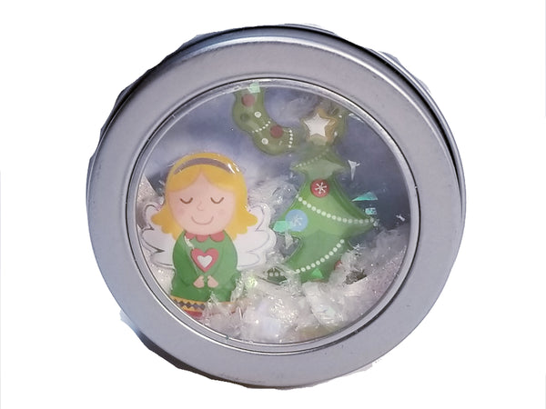 Christmas 3D Diorama Shadow Tin Magnet Girl With Tree Holiday Scene