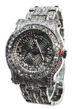Techno Pave Silver Tone Lab Diamond Silver Face Free Mason Design Men Watch Metal Band Bling 6933