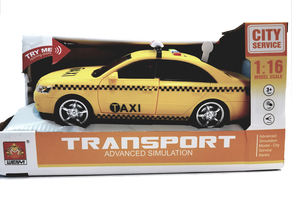 WJ Toys Yellow Taxi CarB Advanced Simulation B/O Lights & Sounds 1/16 Scale Vehicle