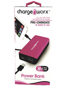 Charge Worx Pink Portable Power Bank 4000mAH With USB Rechargeable Battery Pack