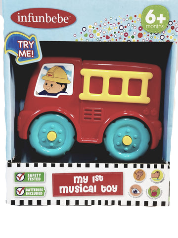Infobebe My First Musical Toy Fire Engine Lights and Sounds Toddler Toy