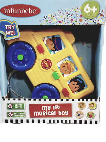 Infunbebe My First Musical Toy School Bus Lights and Sounds Toddler Toy