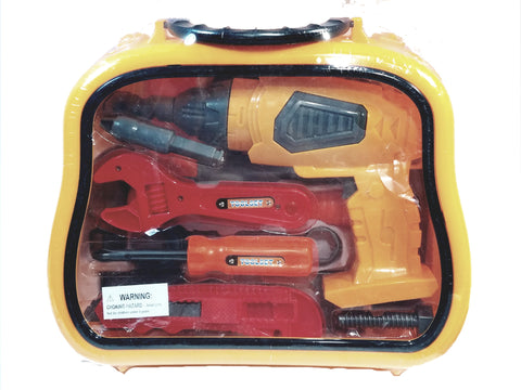 Construction/Handy Man Drill/Wrench /Plastic Tools 8 Piece Playset