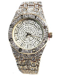 Techno Pave Gold Finish Iced Out Lab Diamond Iced Round Face Mens Watch Metal Iced Band Bling 8651