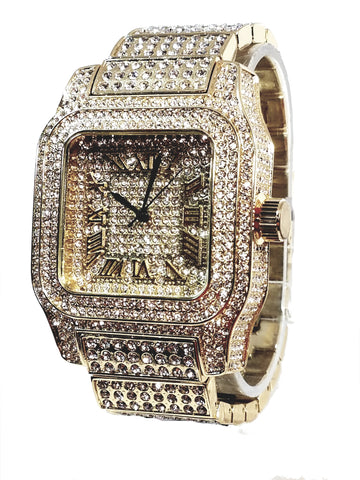 Techno Pave Elite Gold Finish Iced Out Lab Diamond Face Mens Watch Metal Iced Band Rectangle Case 7867