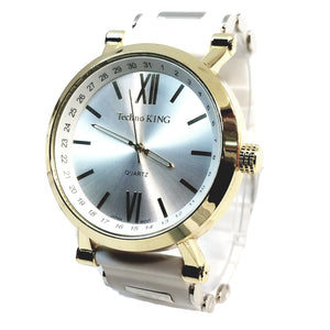 Techno King White Gold Tone 25+ Lab Diamond Silver Face Watch Bullet Band Hip Hop Bling