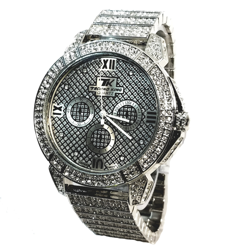 Techno King Mens Silver Finish Dress 75+ Lab Diamonds Silver Face Watch Silver Metal Band Bling