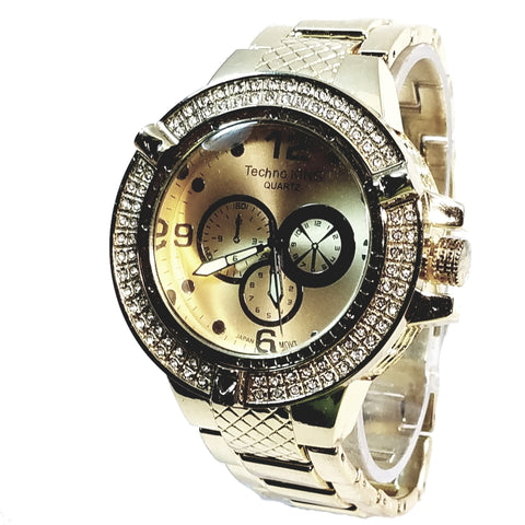 Techno King Mens Gold Finish Dress Gold Face Watch Gold Metal Band Bling