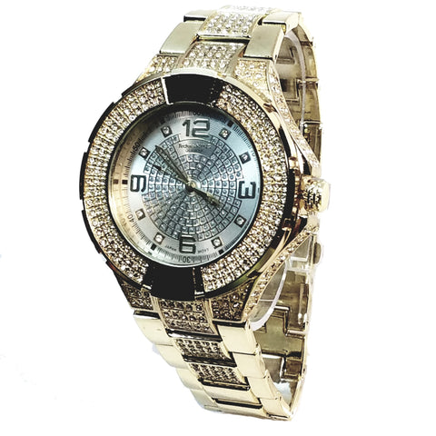 Techno King Mens Gold Finish Dress/Casual Silver Face Watch Metal Band Urban Bling