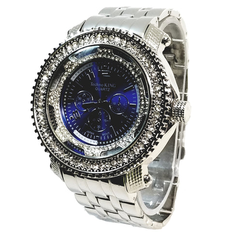 Techno King Mens Tri-Color Silver Finish Aqua Blue 40+ Lab Diamonds Mens Dress Watch Blue Face Watch Silver Metal Band Bling