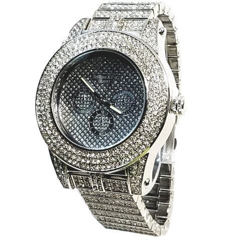 Techno King Mens XL Silver Finish Lab Diamonds Mens Dress Watch Silver Face Watch Metal Band Bling