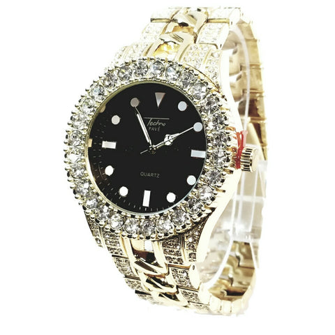 Techno Pave Gold Finish Iced Out Lab Diamond Black Face Mens Watch Metal Band Round Case 8921