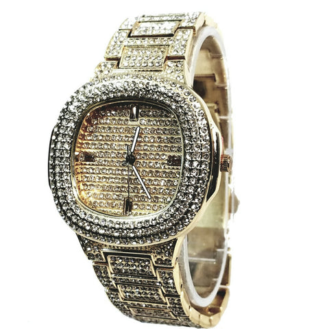 Techno Pave Gold Finish Iced Out Lab Diamond Round Face Mens Watch Metal Iced Band Bling 8908