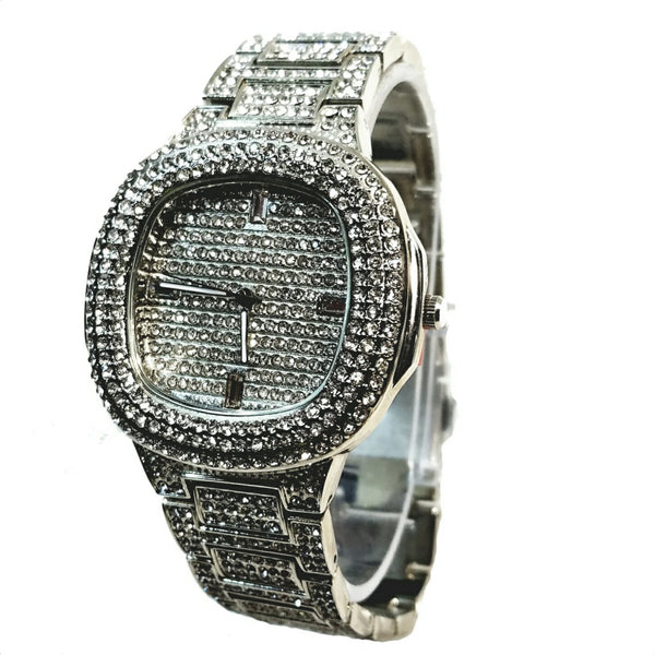 Techno Pave Silver Finish Iced Out Lab Diamond Round Face Mens Watch Metal Iced Band Bling 8908