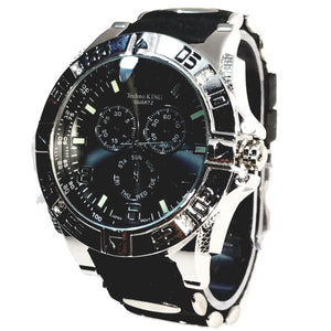 Techno King Mens Silver Finish Dress/Casual Black Face Watch Black Silicone Band Bling