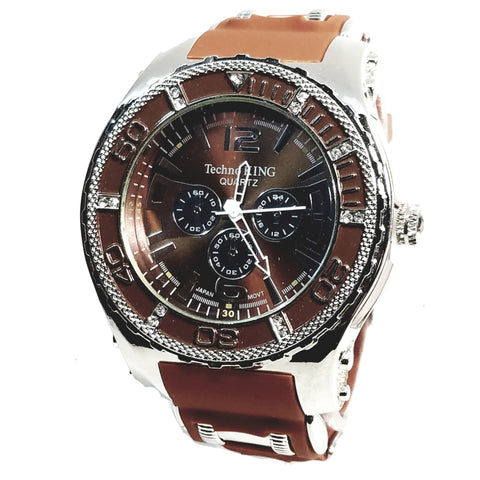 Techno King Mens Silver Finish Dress/Casual Chocolate Face Watch Chocolate Silicone Band Bling