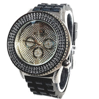 Techno King Mens Gold Finish Dress/Casual Gold Face Watch Black Silicone Band Bling