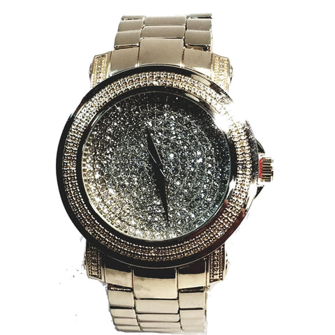 Techno Pave Elite Gold Finish Iced Out Round Lab Diamond Face Mens Watch Metal Band Bling 8254