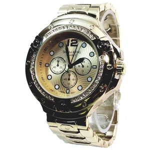 Techno King Gold Finish 40+ Lab Diamond Watch Gold Face Metal Band Hip Hop Bling