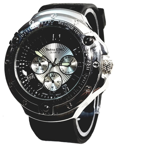 Techno King Mens Silver Finish Dress/Casual Black & Silver Face Watch Black Silicone Band Bling