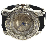 Charles Raymond Gold Finish Iced Gold Frost Face Mens Watch Black Bullet Band Lab Diamond Case