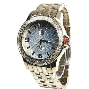 Techno Pave Gold  Finish Silver Frosted Face Bling Mens Watch Metal Band Bling 7744