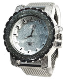 Techno Pave Silver Finish Iced Out Frosted Lab Diamond Mens Watch Metal Mesh Band Bling 8023