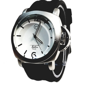 Techno Pave Silver Finish Round Case Casual/Dress Whiteface Mens Watch Black Band Bling