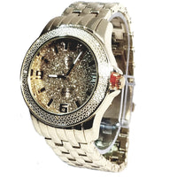 Techno Pave Gold  Finish Gold  Frosted Face Bling Mens Watch Metal Band Bling 7744