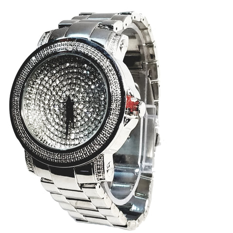 Techno Pave Silver Finish Iced Out Lab Diamond Black Face Mens Watch Metal Band Round Case 8921