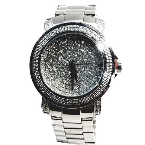 Techno Pave Elite Silver Finish Iced Out Round Lab Diamond Face Mens Watch Metal Band Bling 8254
