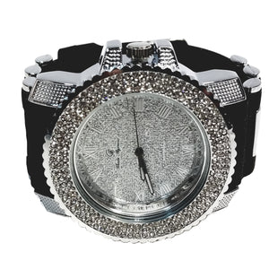 Charles Raymond Silver Finish Iced Silver Frost Face Mens Watch Black Bullet Band Lab Diamond Case 7840