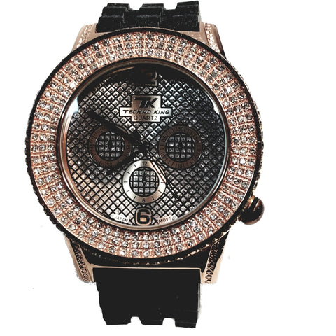 Techno King Mens Rose Gold Finish Dress/Casual Rose Gold Face Watch Black Silicone Band Bling