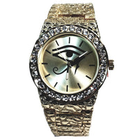 Tech PV Gold Finish Eye of Horus Iced Out Lab Diamond Iced Face Mens Watch Gold Nugget Metal Band Bling 8659