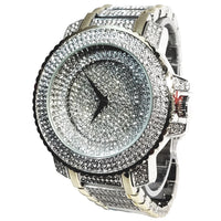 Techno Pave Silver Finish &Gold Trim Iced Out Lab Diamond Black Face Mens Watch Metal Band Round Case 7741