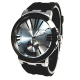 Charles Raymond Gun Metal Black & Silver Mens Dress Watch Black Silicone Band Bling