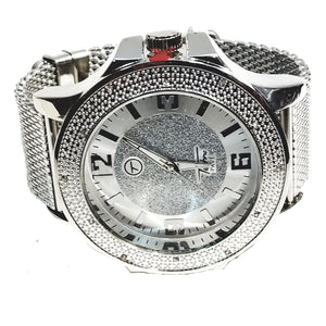 Techno Pave Silver Finish Iced Out Frosted Black Trim Lab Diamond Mens Watch Metal Mesh Band Bling 7569