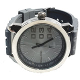 Techno King Silver Finish Charcoal Gray Silicone Case Charcoal Gray Face Watch Silicone Band Hip Hop Bling