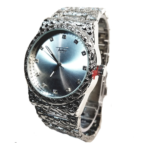 Techno Pave Silver Finish Round Case Crimson Silver Face Mens Watch Silver Nugget Metal Band Bling 8364