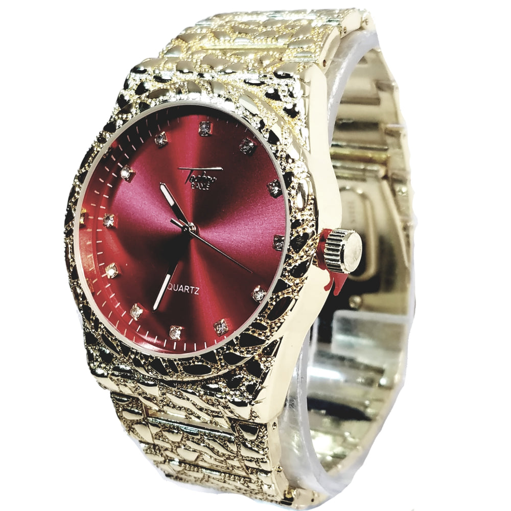 Techno Pave Gold Finish Round Case Crimson Red Face Mens Watch Gold Nugget Metal Band Bling 8364